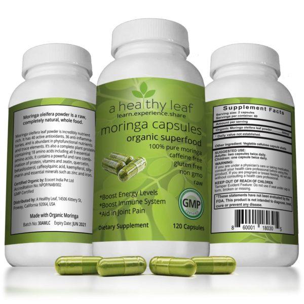 Moringa Capsules Made From Certified Organic Moringa